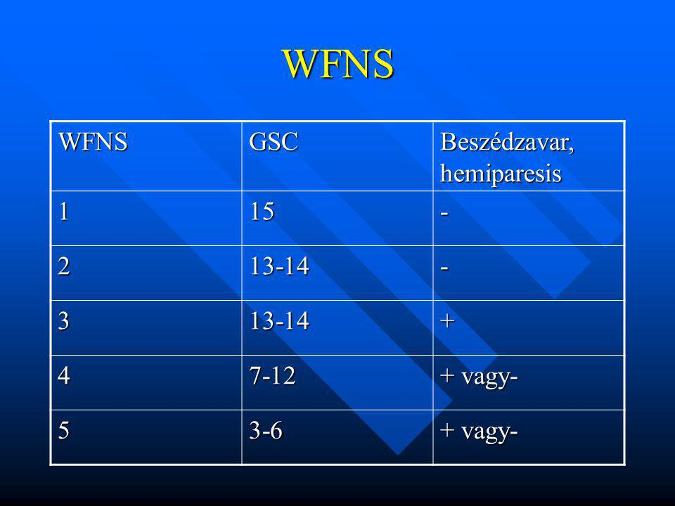 WFNS WFNS GSC Beszédzavar, hemiparesis 1 15 - 2 13-14 3 + 4 7-12