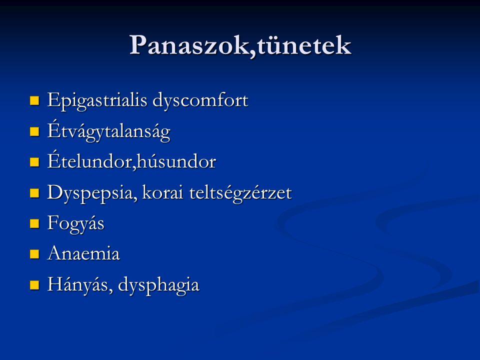 Panaszok,tünetek Epigastrialis dyscomfort Étvágytalanság