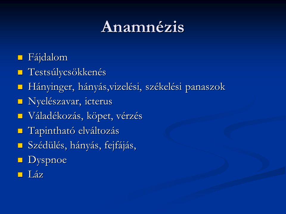 Anamnézis Fájdalom Testsúlycsökkenés