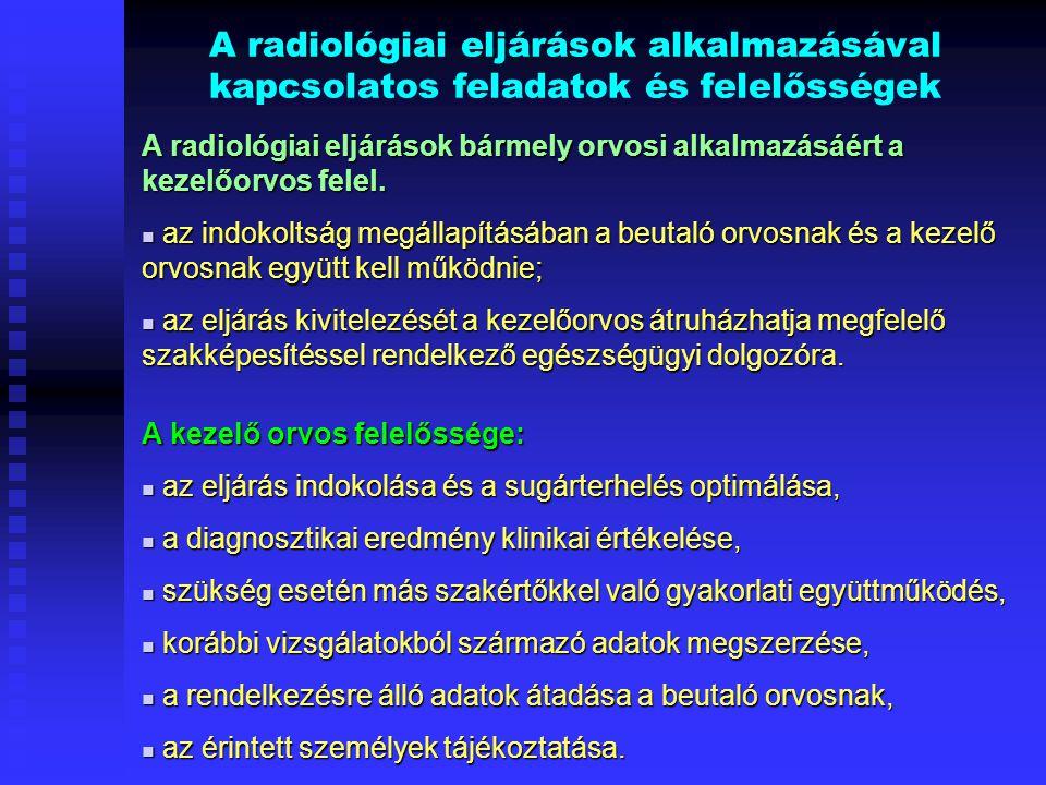 A radiológiai eljárások alkalmazásával kapcsolatos feladatok és felelősségek