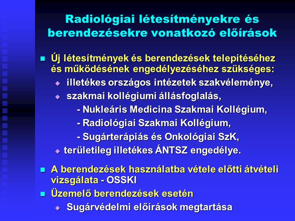 Radiológiai létesítményekre és berendezésekre vonatkozó előírások