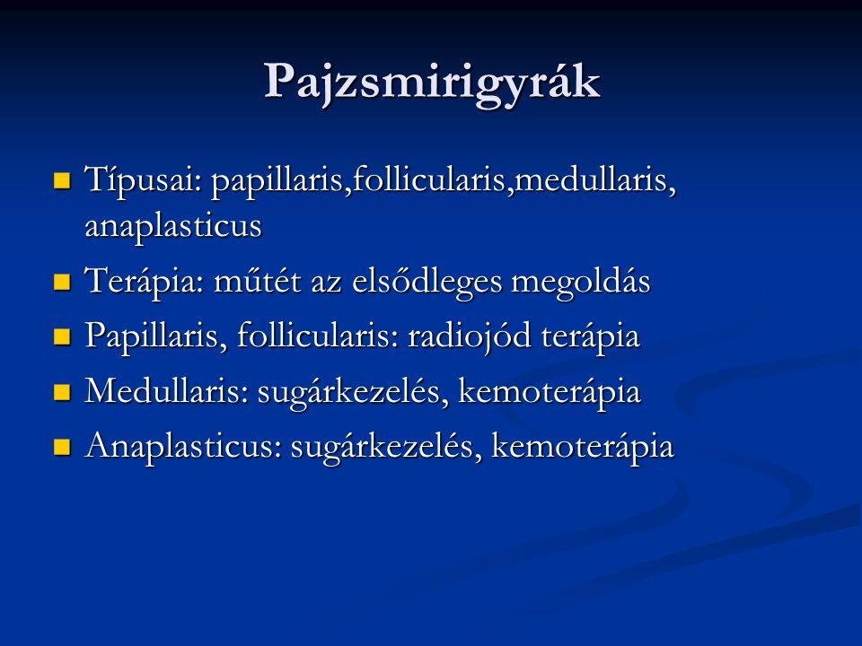 Pajzsmirigyrák Típusai: papillaris,follicularis,medullaris, anaplasticus. Terápia: műtét az elsődleges megoldás.