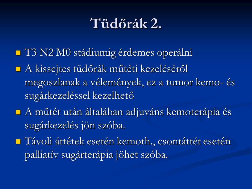 Tüdőrák 2. T3 N2 M0 stádiumig érdemes operálni