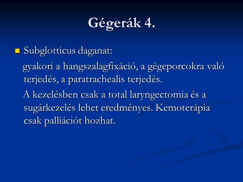 Gégerák 4. Subglotticus daganat: