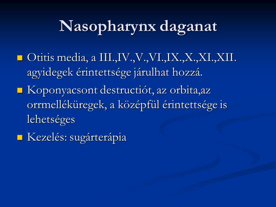 Nasopharynx daganat Otitis media, a III.,IV.,V.,VI.,IX.,X.,XI.,XII. agyidegek érintettsége járulhat hozzá.