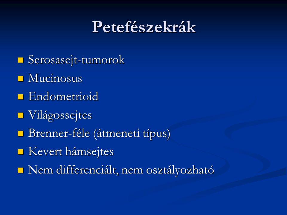 Petefészekrák Serosasejt-tumorok Mucinosus Endometrioid Világossejtes