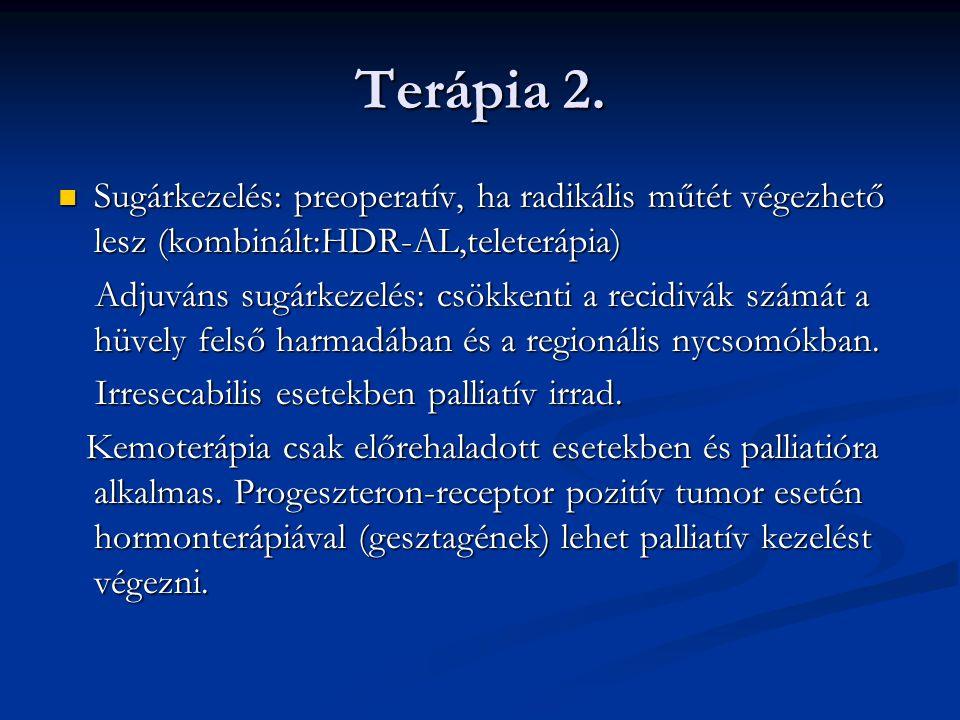 Terápia 2. Sugárkezelés: preoperatív, ha radikális műtét végezhető lesz (kombinált:HDR-AL,teleterápia)