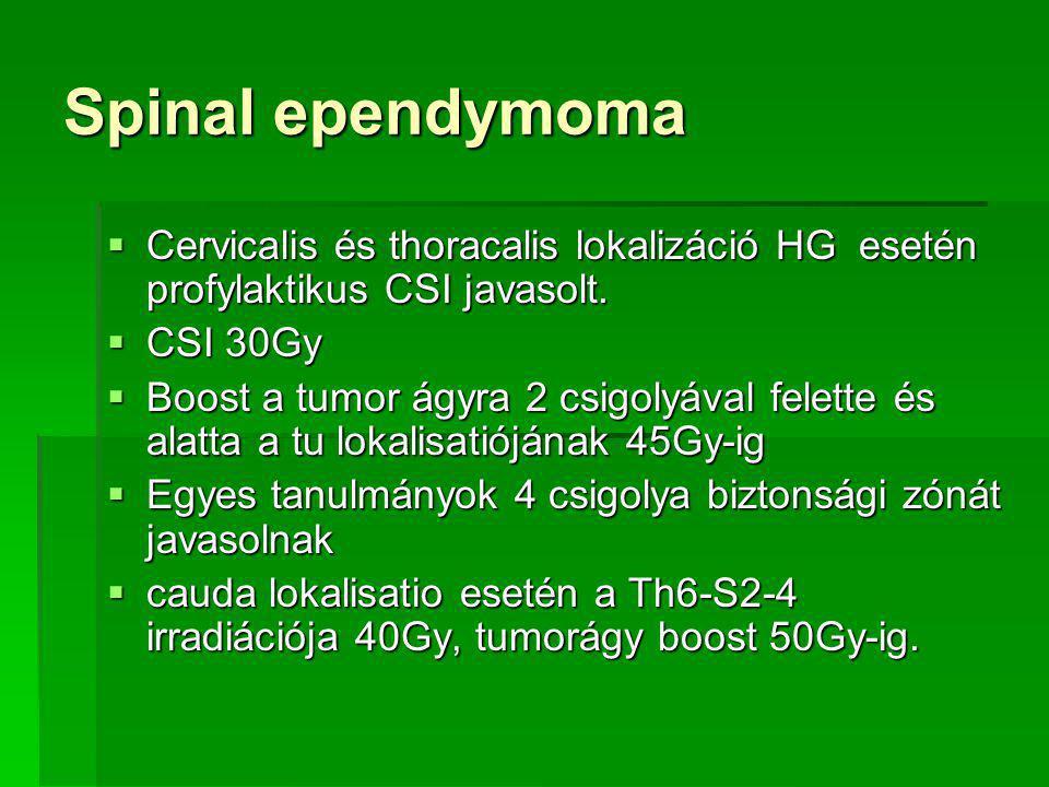 Spinal ependymoma Cervicalis és thoracalis lokalizáció HG esetén profylaktikus CSI javasolt. CSI 30Gy.