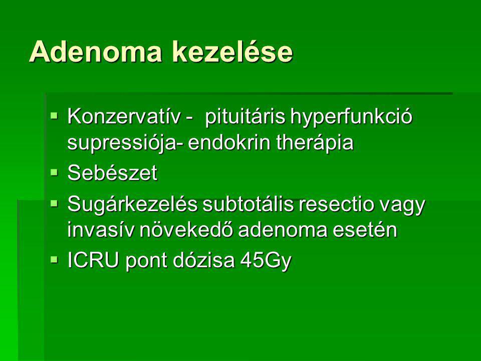 Adenoma kezelése Konzervatív - pituitáris hyperfunkció supressiója- endokrin therápia. Sebészet.