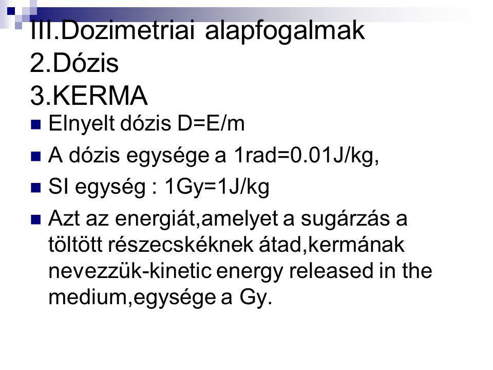 III.Dozimetriai alapfogalmak 2.Dózis 3.KERMA