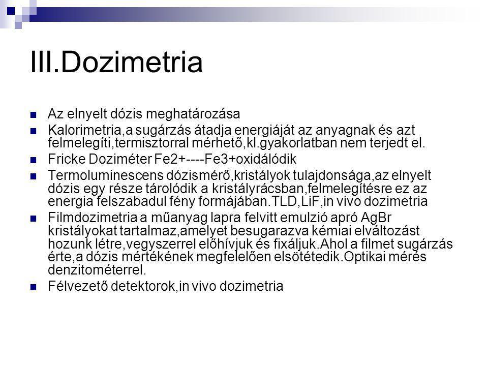 III.Dozimetria Az elnyelt dózis meghatározása