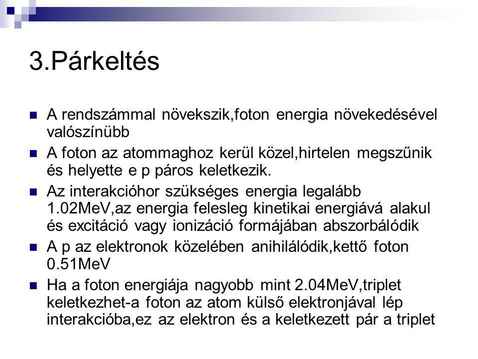 3.Párkeltés A rendszámmal növekszik,foton energia növekedésével valószínübb.