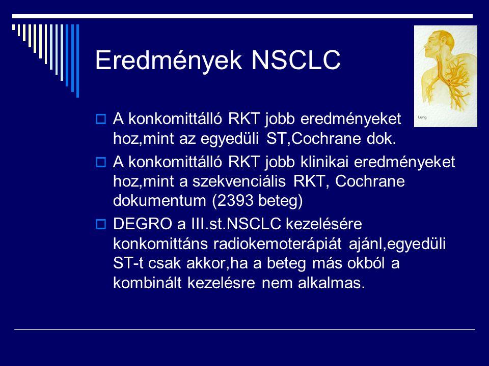 Eredmények NSCLC A konkomittálló RKT jobb eredményeket hoz,mint az egyedüli ST,Cochrane dok.