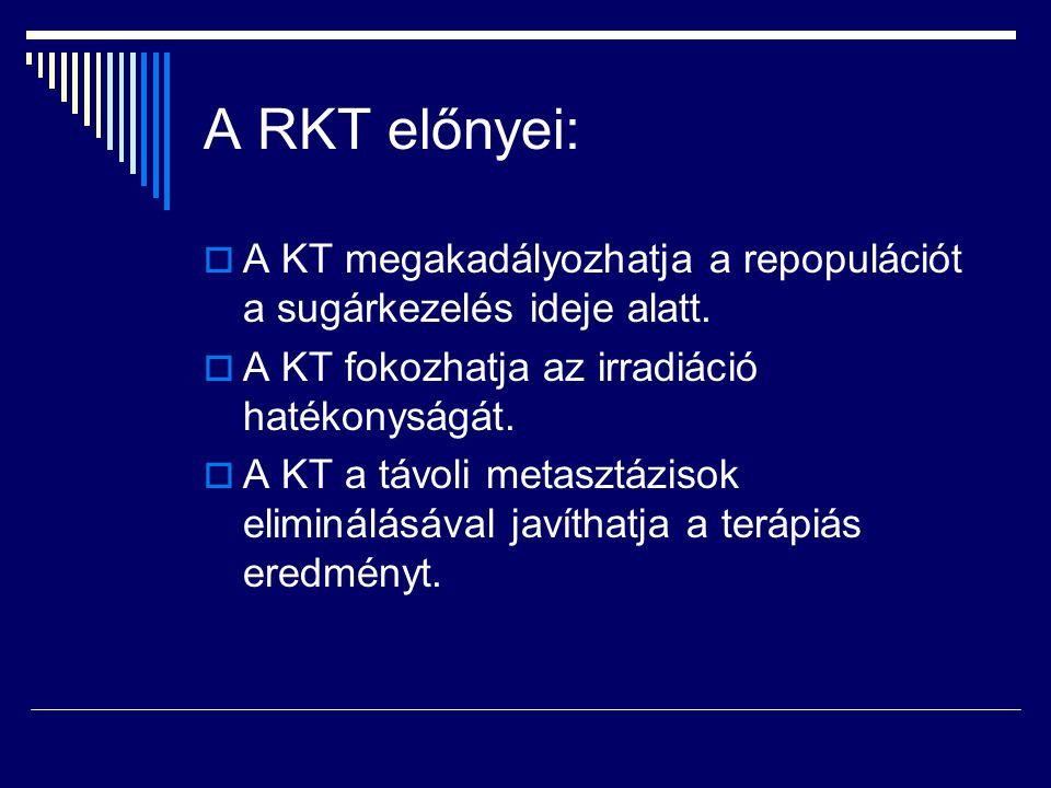 A RKT előnyei: A KT megakadályozhatja a repopulációt a sugárkezelés ideje alatt. A KT fokozhatja az irradiáció hatékonyságát.