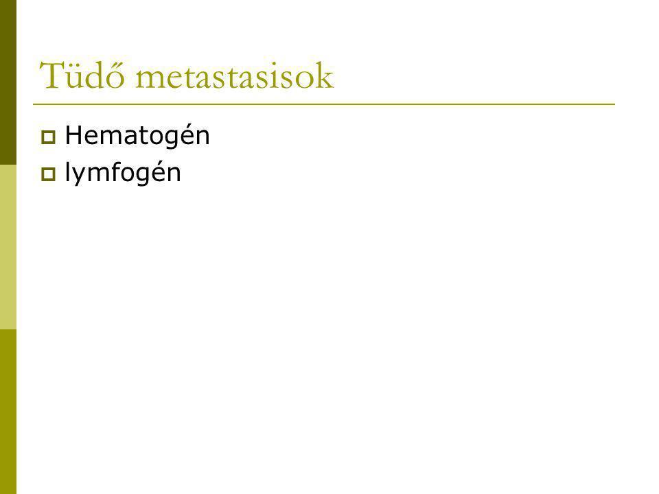 Tüdő metastasisok Hematogén lymfogén