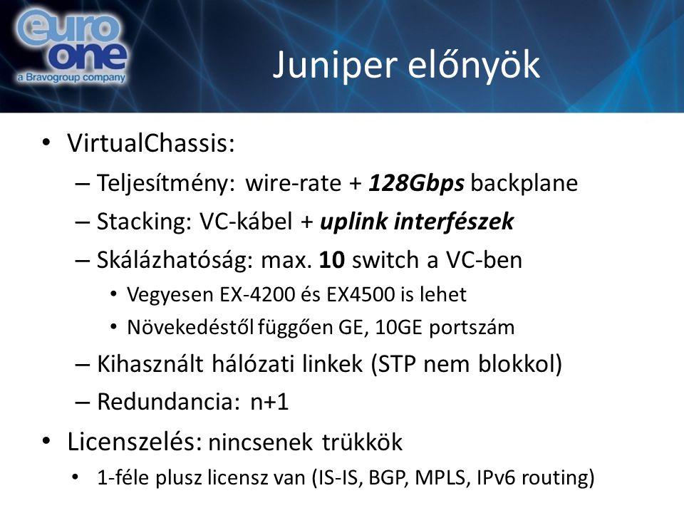 Juniper előnyök VirtualChassis: Licenszelés: nincsenek trükkök