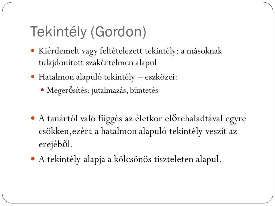 Tekintély (Gordon) Kiérdemelt vagy feltételezett tekintély: a másoknak tulajdonított szakértelmen alapul.