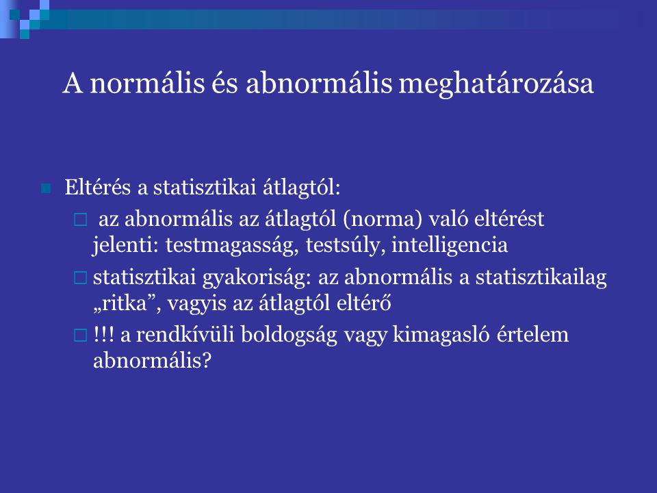 A normális és abnormális meghatározása