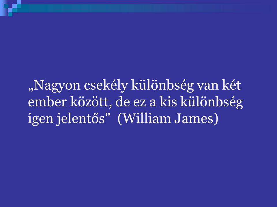 """""""Nagyon csekély különbség van két ember között, de ez a kis különbség igen jelentős (William James)"""