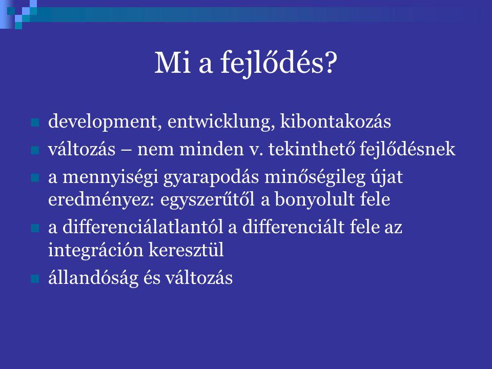 Mi a fejlődés development, entwicklung, kibontakozás