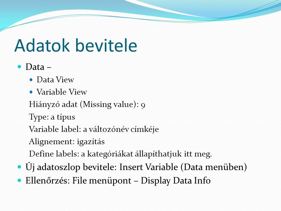 Adatok bevitele Data – Data View. Variable View. Hiányzó adat (Missing value): 9. Type: a típus.