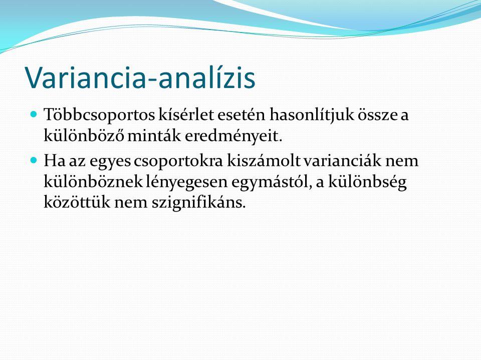 Variancia-analízis Többcsoportos kísérlet esetén hasonlítjuk össze a különböző minták eredményeit.