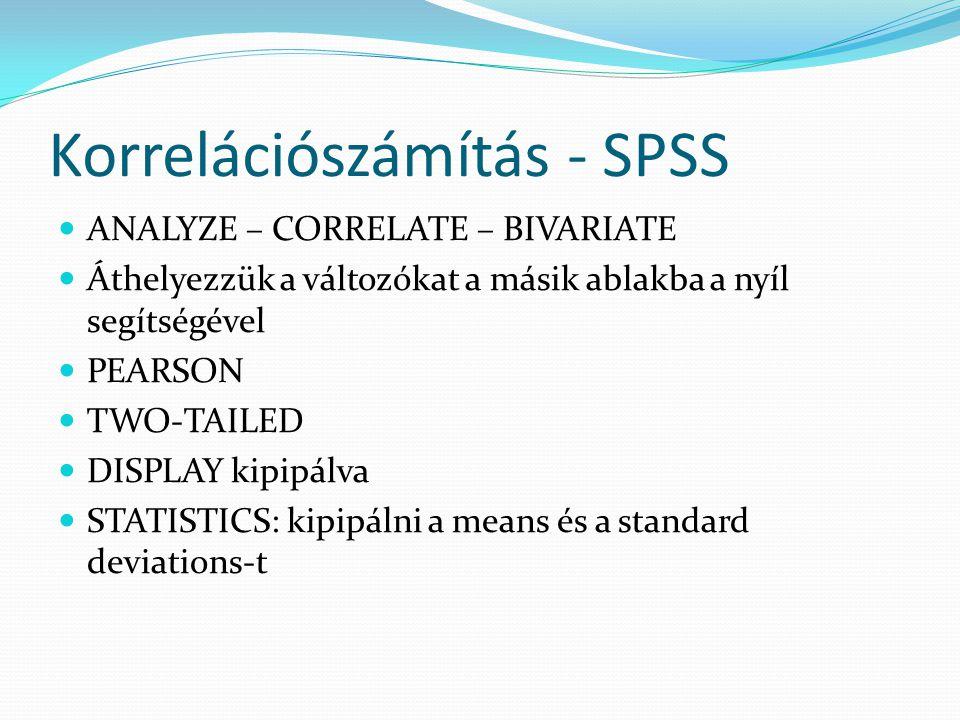 Korrelációszámítás - SPSS