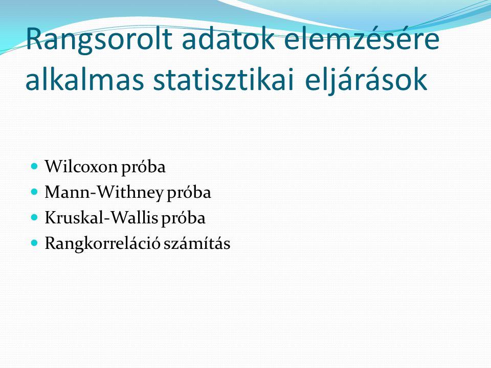 Rangsorolt adatok elemzésére alkalmas statisztikai eljárások