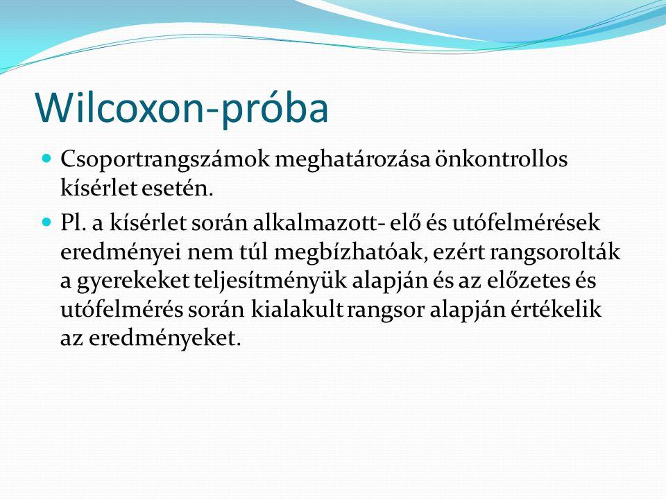 Wilcoxon-próba Csoportrangszámok meghatározása önkontrollos kísérlet esetén.