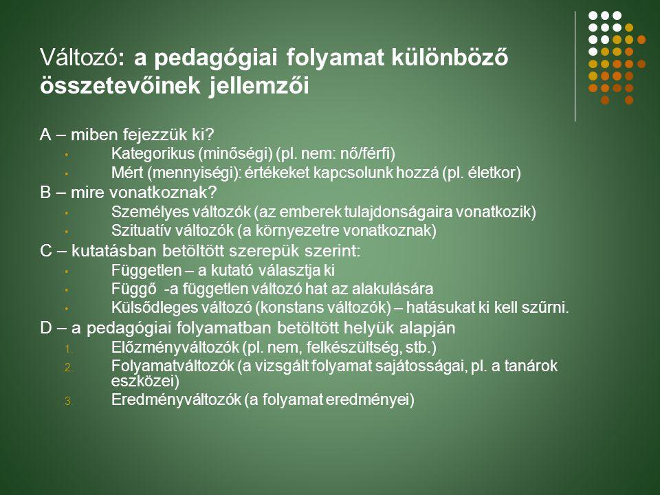 Változó: a pedagógiai folyamat különböző összetevőinek jellemzői