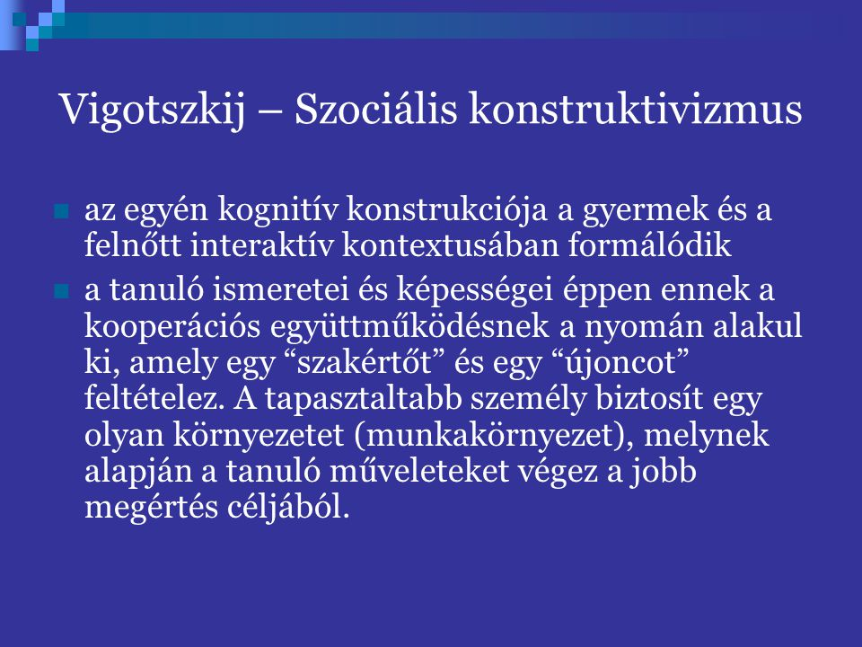 Vigotszkij – Szociális konstruktivizmus