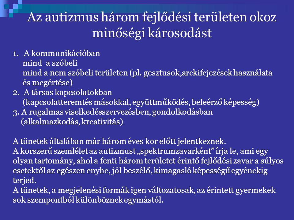 Az autizmus három fejlődési területen okoz minőségi károsodást
