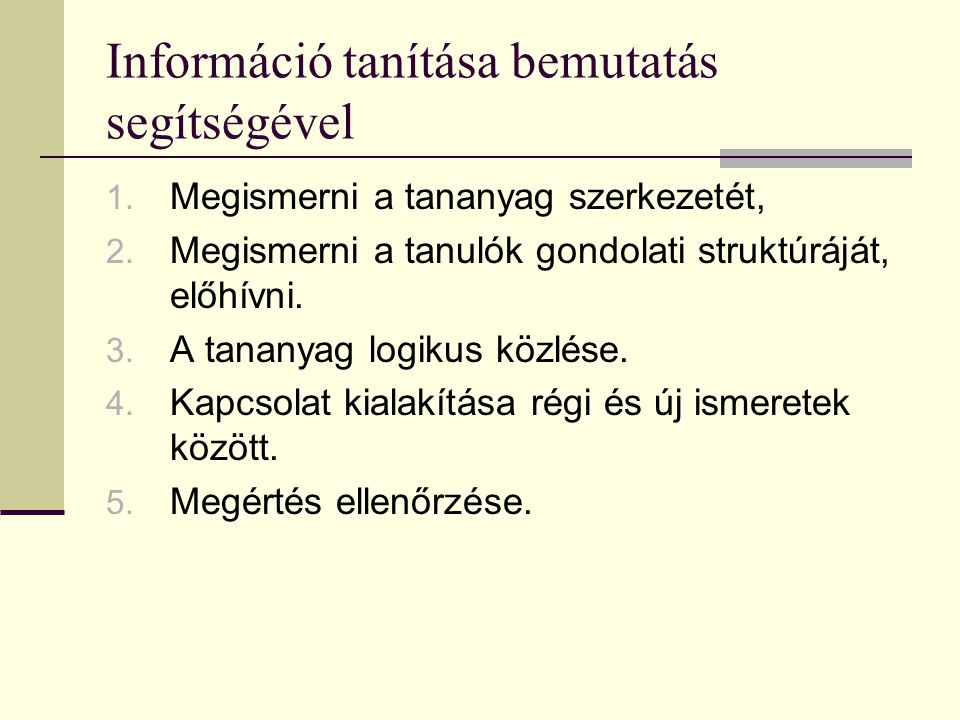 Információ tanítása bemutatás segítségével