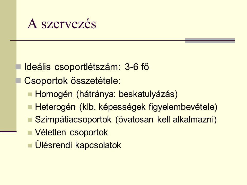 A szervezés Ideális csoportlétszám: 3-6 fő Csoportok összetétele: