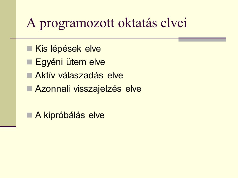 A programozott oktatás elvei