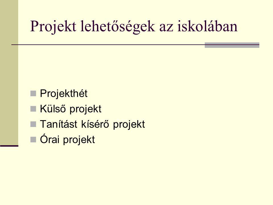 Projekt lehetőségek az iskolában