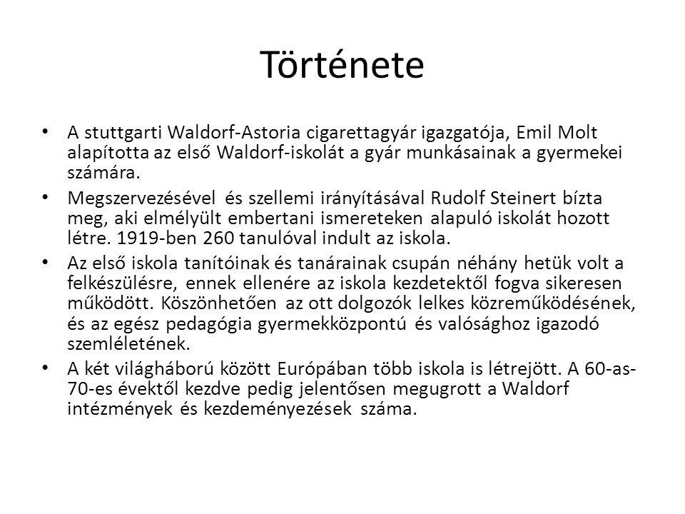 Története A stuttgarti Waldorf-Astoria cigarettagyár igazgatója, Emil Molt alapította az első Waldorf-iskolát a gyár munkásainak a gyermekei számára.