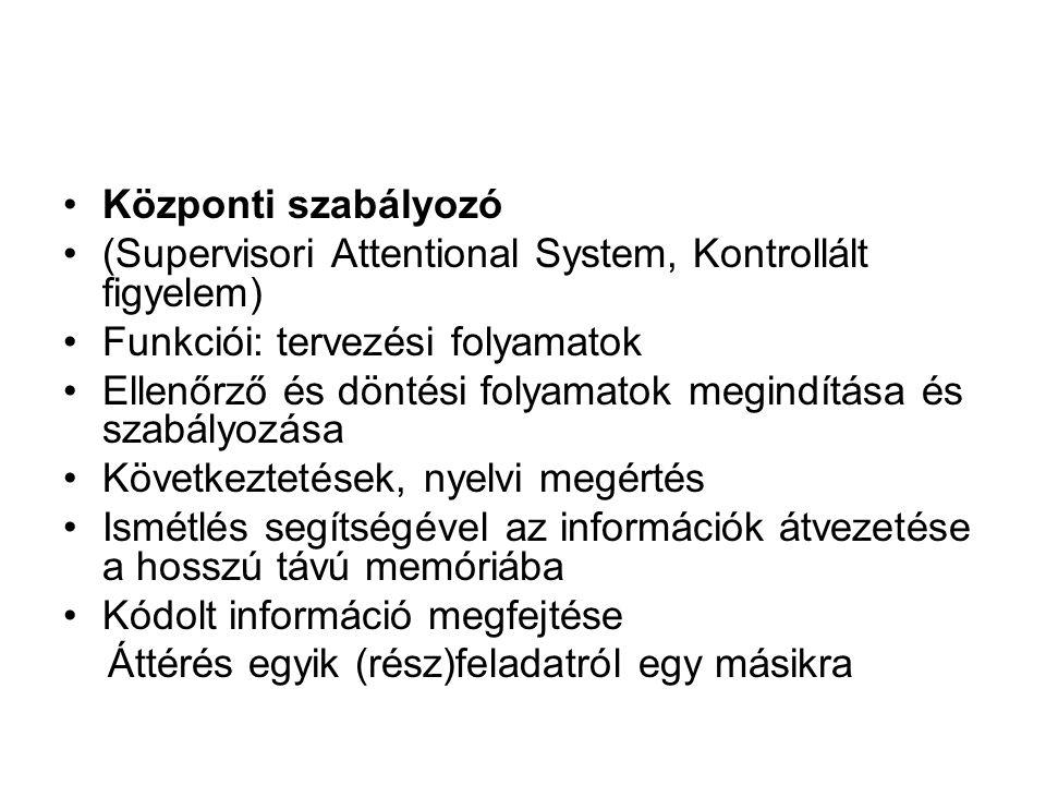 Központi szabályozó (Supervisori Attentional System, Kontrollált figyelem) Funkciói: tervezési folyamatok.