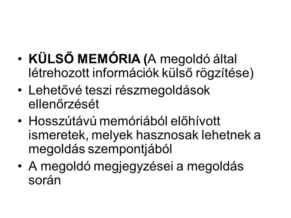 KÜLSŐ MEMÓRIA (A megoldó által létrehozott információk külső rögzítése)
