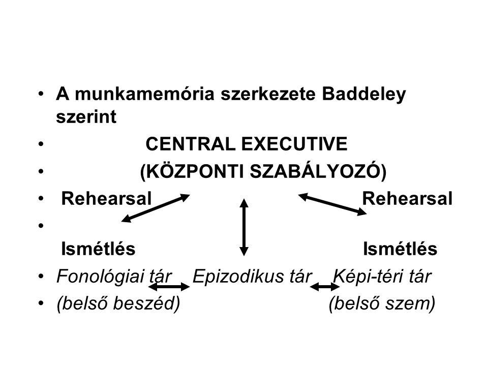 A munkamemória szerkezete Baddeley szerint