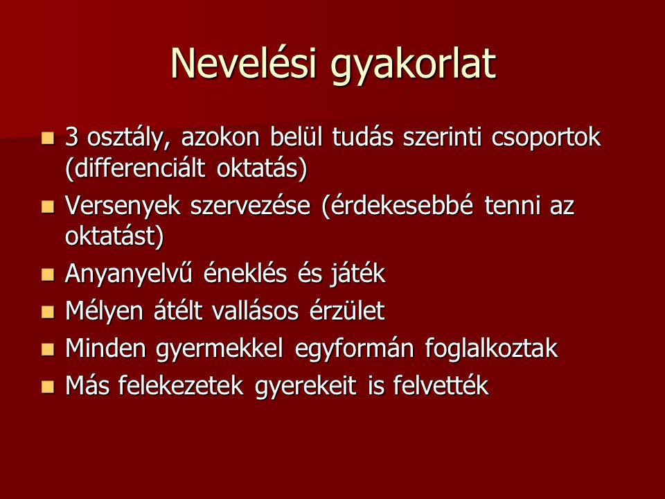 Nevelési gyakorlat 3 osztály, azokon belül tudás szerinti csoportok (differenciált oktatás) Versenyek szervezése (érdekesebbé tenni az oktatást)