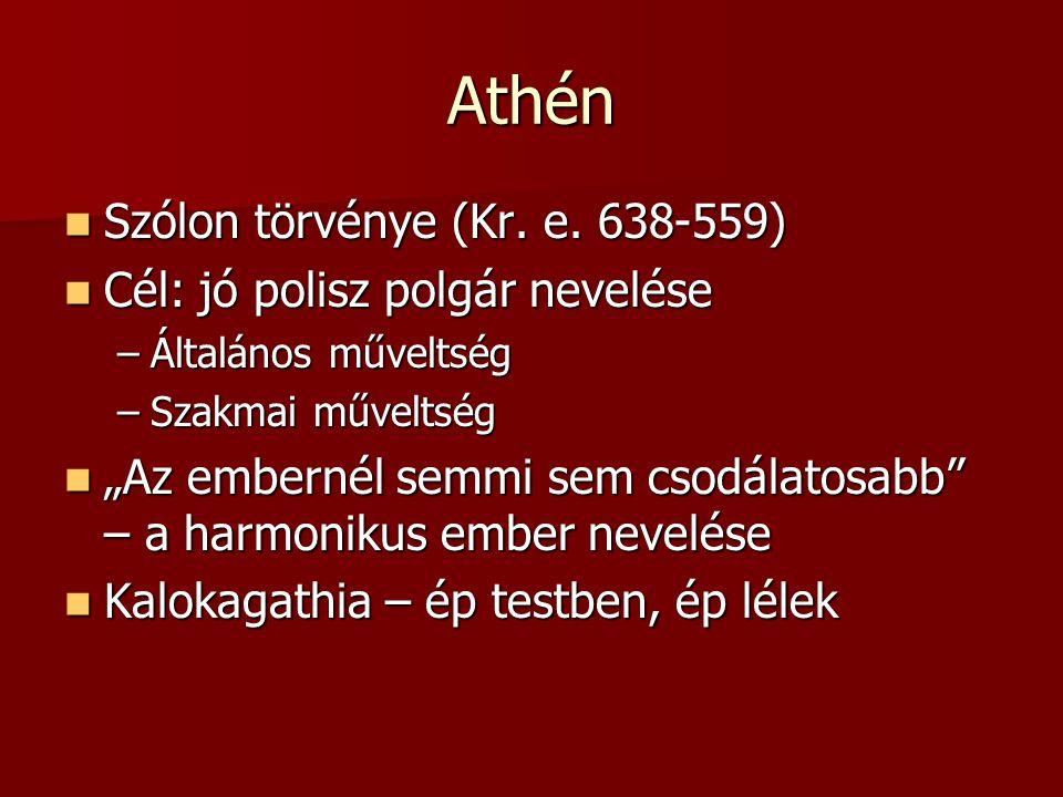 Athén Szólon törvénye (Kr. e. 638-559) Cél: jó polisz polgár nevelése