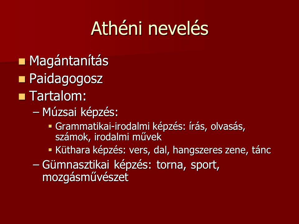 Athéni nevelés Magántanítás Paidagogosz Tartalom: Múzsai képzés: