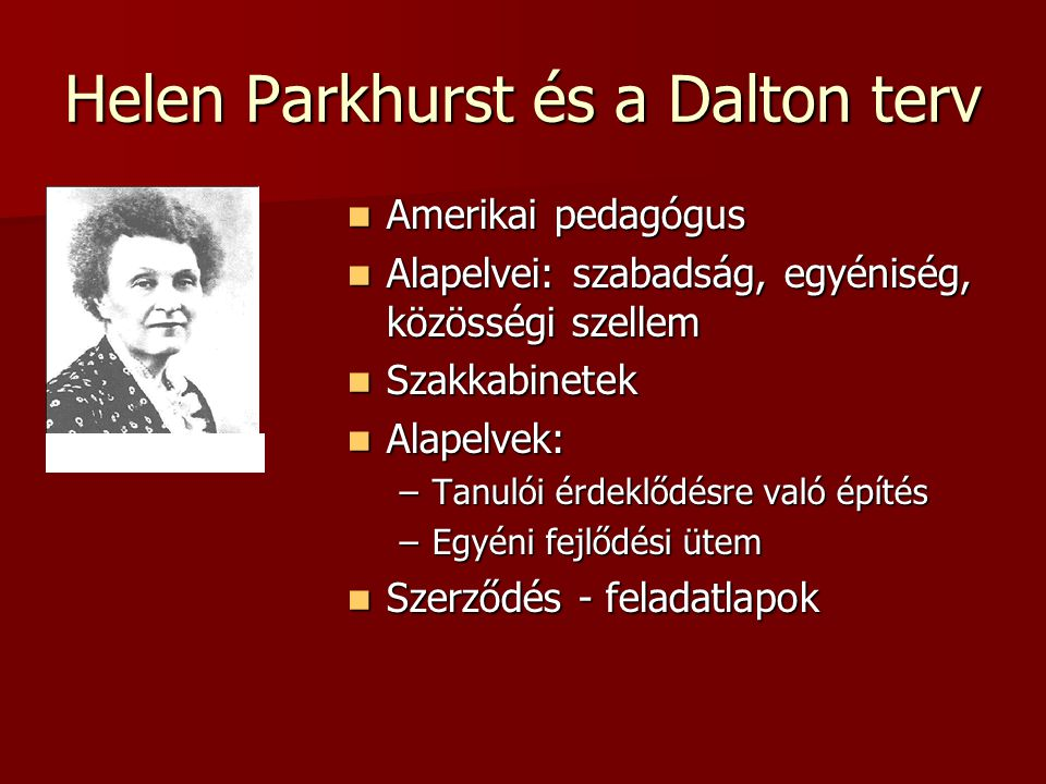 Helen Parkhurst és a Dalton terv