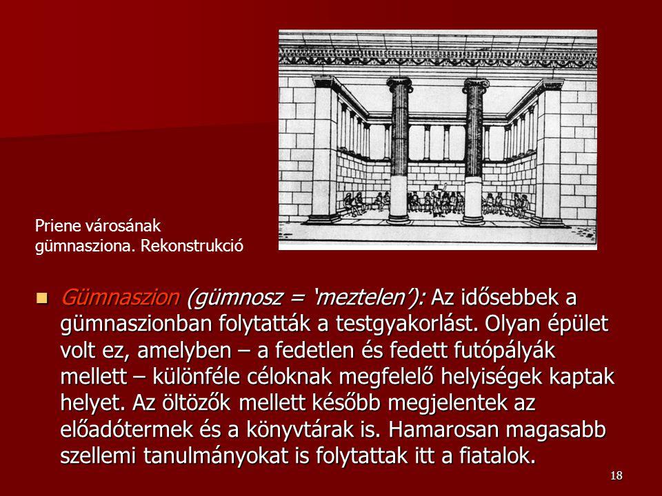 Priene városának gümnasziona. Rekonstrukció