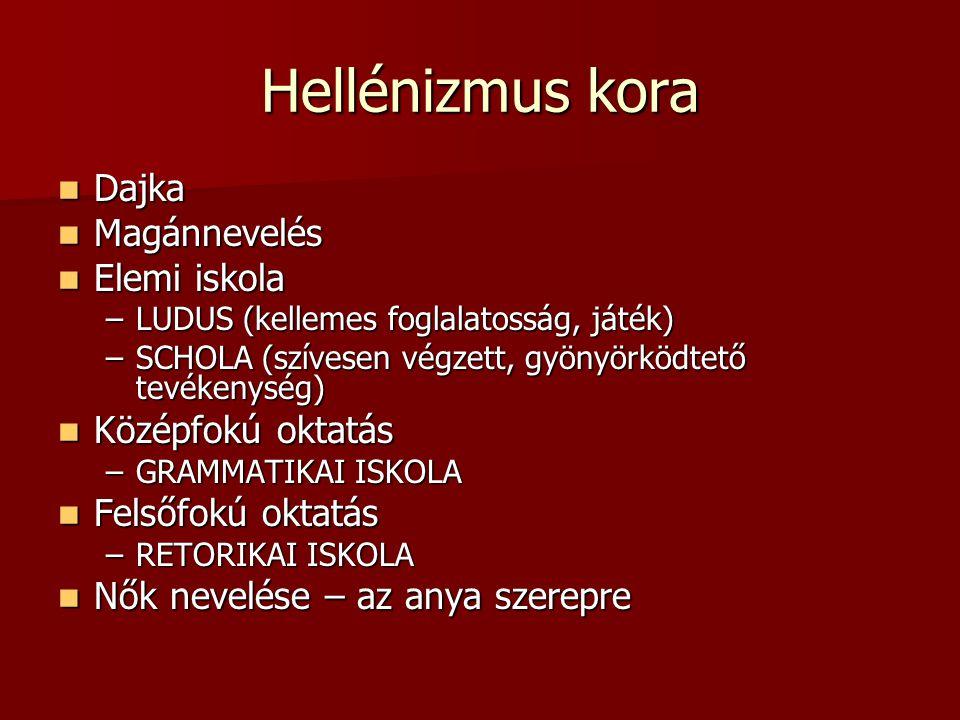 Hellénizmus kora Dajka Magánnevelés Elemi iskola Középfokú oktatás
