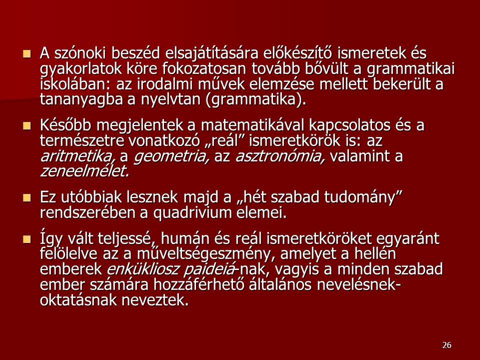 A szónoki beszéd elsajátítására előkészítő ismeretek és gyakorlatok köre fokozatosan tovább bővült a grammatikai iskolában: az irodalmi művek elemzése mellett bekerült a tananyagba a nyelvtan (grammatika).