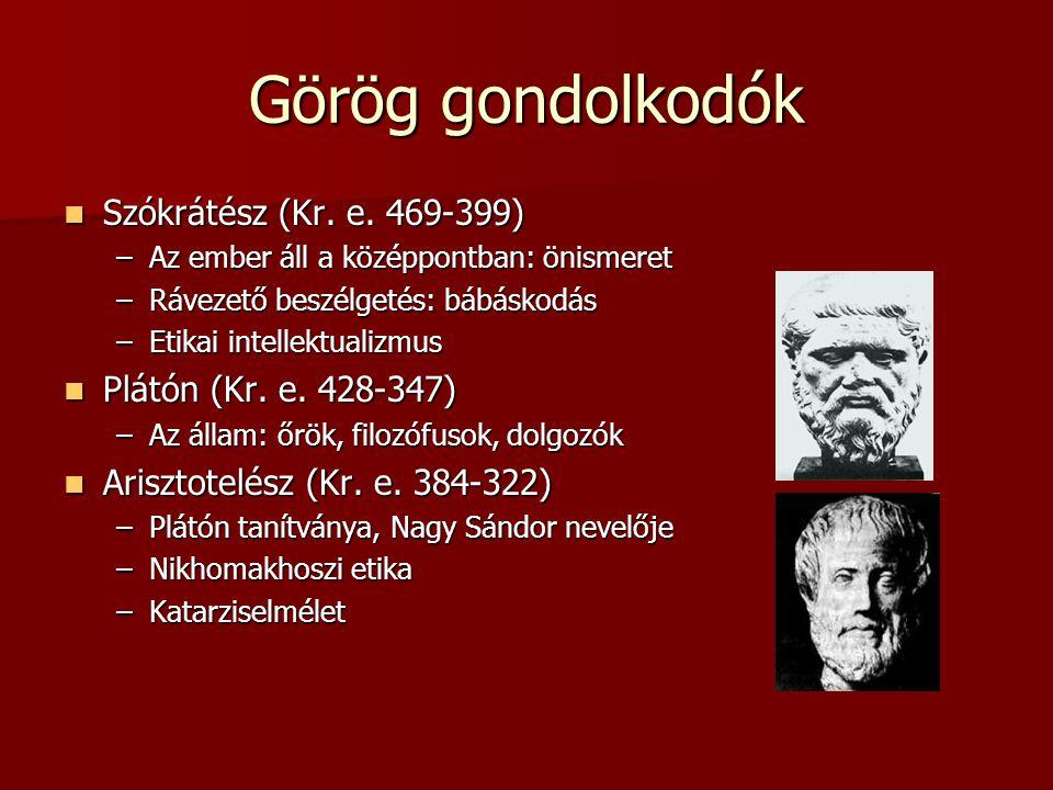Görög gondolkodók Szókrátész (Kr. e. 469-399) Plátón (Kr. e. 428-347)