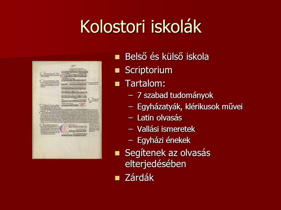 Kolostori iskolák Belső és külső iskola Scriptorium Tartalom: