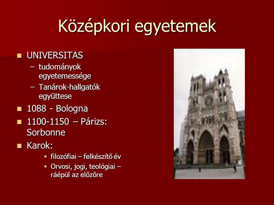 Középkori egyetemek UNIVERSITAS 1088 - Bologna